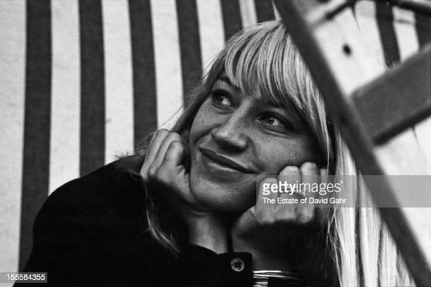 Portrait of folk singer Mary Travers on stage performing in an afternoon workshop of spirituals and traditional gospel music in July 1964 at the...