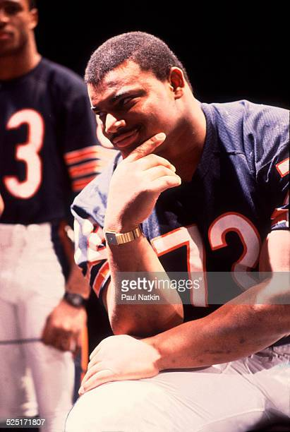 Portrait of football player William 'Refrigerator' Perry defensive lineman for the Chicago Bears during the filming the 'Super Bowl Shuffle' video...
