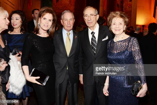 Portrait of fore from left Bonnie Englebardt Lautenberg New York City Mayor Michael Bloomberg Mario Cuomo and Matilda Cuomo during the SLE...