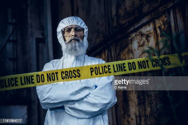 portrait of forensic scientist at crime scene - crime scene stock pictures, royalty-free photos & images