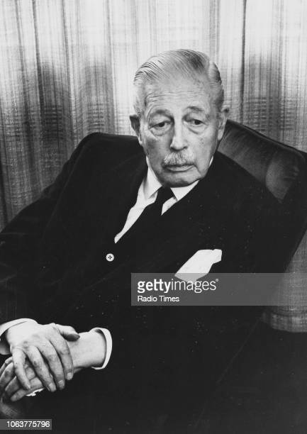 Portrait of former British Prime Minister Harold Macmillan photographed for Radio Times in connection with the BBC Radio 4 show 'Pointing the Way'...