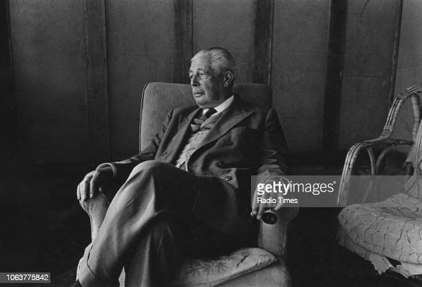 Portrait of former British Prime Minister Harold Macmillan sitting in an armchair circa 1975