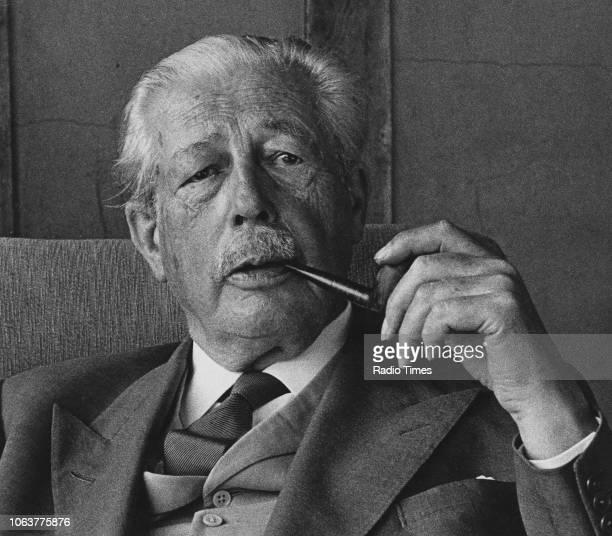 Portrait of former British Prime Minister Harold Macmillan smoking his pipe circa 1975
