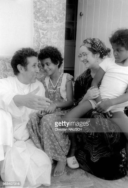 Portrait of former first Algerian President Ahmed Ben Bella with his family in Algiers Algeria in 1981