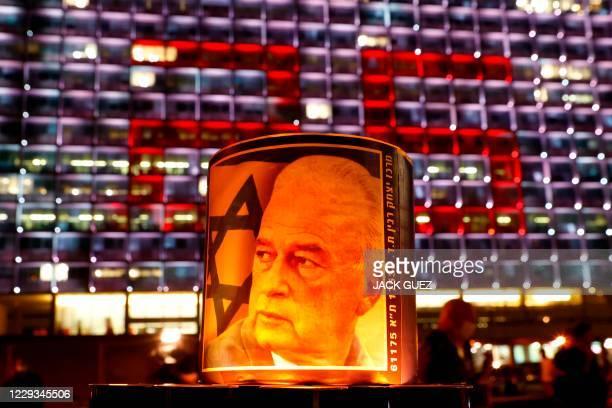 Portrait of former Israeli Prime Minister Yitzhak Rabin is seen at Rabin Square in the Israeli coastal city Tel Aviv, on October 29 during a 25,000...