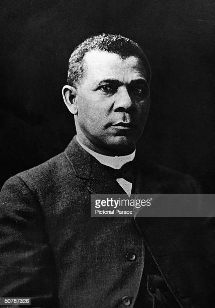 Portrait of former slave and American Civil Rights activist Booker T Washington late 19th Century