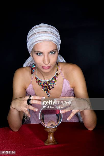 portrait of fortune teller with crystal ball - devin france photos et images de collection