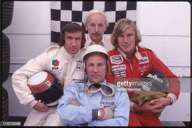 Portrait of four British Formula One race car drivers Jackie Stewart John Surtees Stirling Moss and James Hunt Madrid Spain June 2 1974