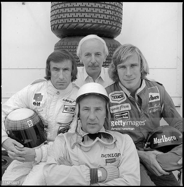 Portrait of four British Formula One race car drivers Jackie Stewart John Surtees Stirling Moss and James Hunt Madrid Spain June 2 1974