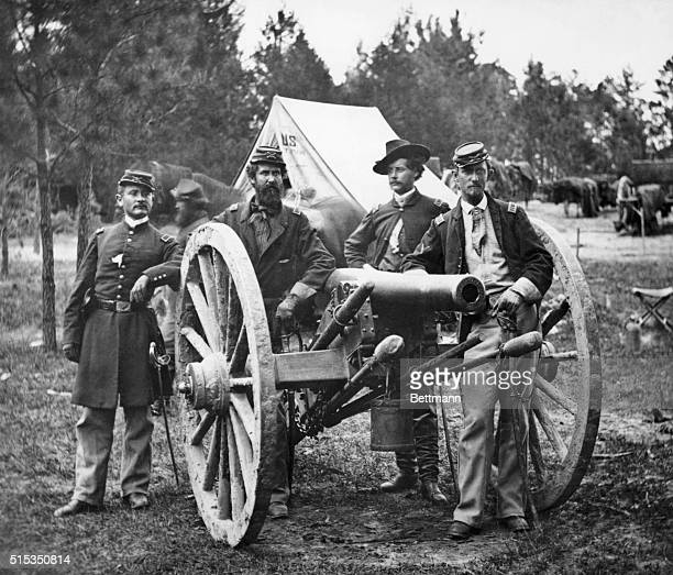 Portrait of four Civil War artillery officers grouped around a cannon in the vicinity of Fair Oaks Virginia June 1862 BPA2# 719