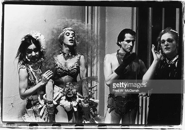 Portrait of four male transvestites dressed in what appear to almost entirely homemafe clothing New York New York April 17 1970 Among the homemade...