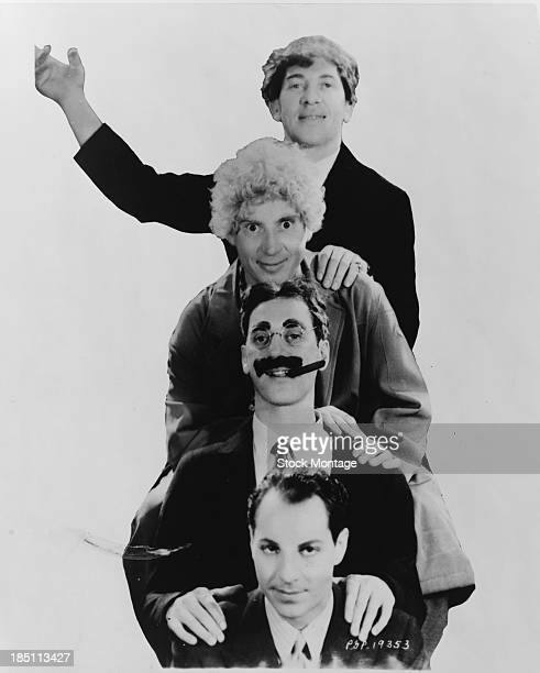 Portrait of four of the American sibling comedy team the Marx Brothers 1931 Pictured are from top Chico Harpo Groucho and Zeppo Marx