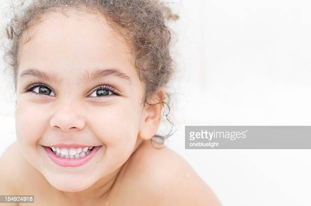 portrait of four years old girl in bathroom - 4 5 years stock pictures, royalty-free photos & images