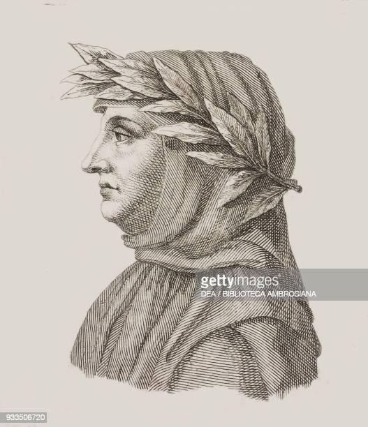 Portrait of Francesco Petrarca Italian writer poet and humanist engraving from L'album giornale letterario e di belle arti Saturday July 5 Year 1