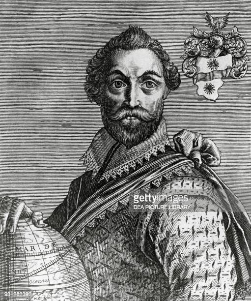 Portrait of Francis Drake English privateer engraving by Nicolas de Larmessin from Academie des Sciences et des Artes by Isaac Bullart