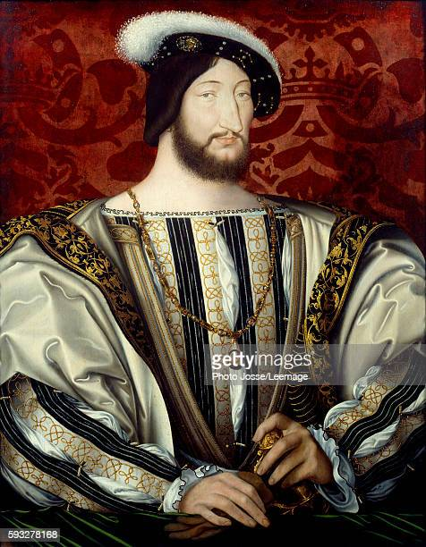Portrait of Francis I king of France Painting by Jean Clouet oil on wood c 1530 Louvre Museum Paris
