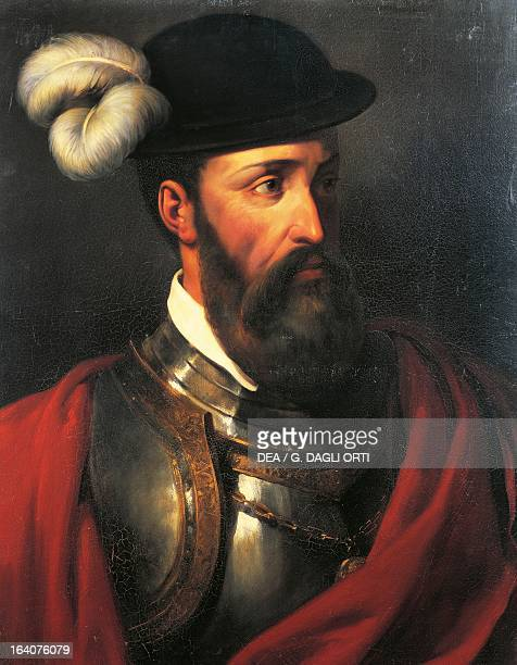 Portrait of Francisco Pizarro Spanish explorer and conquistador Oil on canvas by Paul Amable Coutan 1835 Versailles Château De Versailles