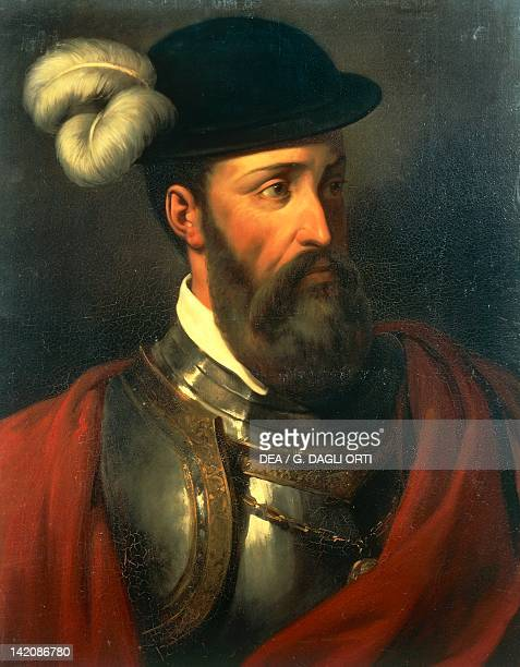 Portrait of Francisco Pizarro Spanish military leader who conquered the Inca Empire and founder of the city of Lima