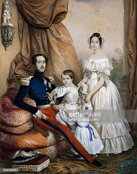Portrait of Francois of Orleans and the Princess of Joinville with their children before the revolution of 1848 painting by FrancisqueMartinFrancois...