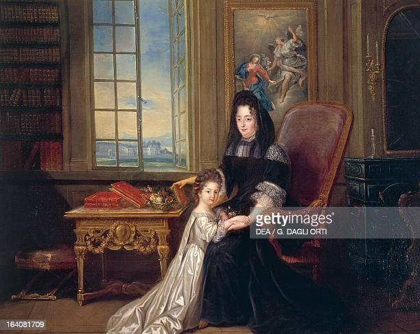 Portrait of Francoise d'Aubigne Marquise de Maintenon with her niece Francoise d'Aubigne the future Duchess of Noialles oil on canvas 219x142 cm...