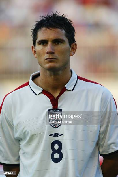 A portrait of Frank Lampard of England during the team lineup during the Euro 2004 group 7 qualifying match between Macedonia and England on...