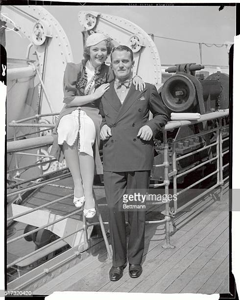 Portrait of Franklin D Roosevelt Jr with his wife aboard the the ship Europa He is the son of Franklin Delano Roosevelt the 32nd president of the...