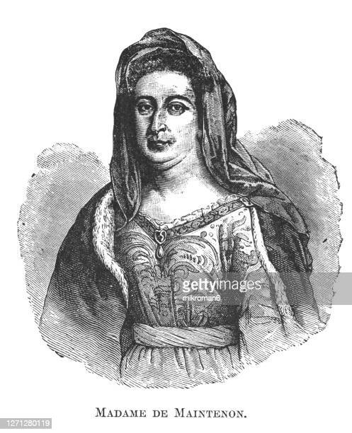 portrait of françoise d'aubigné (27 november 1635 – 15 april 1719), known first as madame scarron and subsequently as madame de maintenon - king royal person stock pictures, royalty-free photos & images