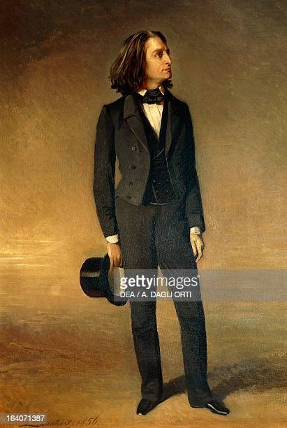 Portrait of Franz Liszt Hungarian composer pianist and conductor Painting by Richard Lanchert 1856 Weimar LisztHaus