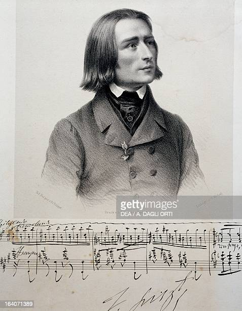 Portrait of Franz Liszt Hungarian composer pianist and conductor Lithograph 1838 Weimar LisztHaus