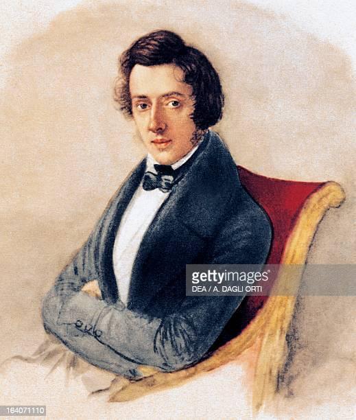 Portrait of Frederic Chopin Polish pianist and composer watercolour by Maria Wodzinska Varsavia Muzeum Fryderyka Chopina