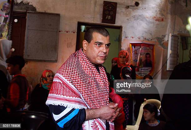 A portrait of freed Palestinian prisoner Amr Masoud at his family house in AlShatea refugee camp in Gaza City on 30 October 2013 'Masoud' who was...