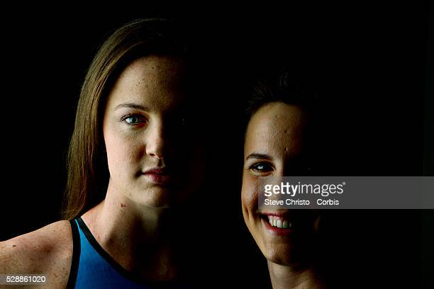 Portrait of Freestyle sisters Cate and Bronte Campbell at the Brisbane Aquatic Centre Brisbane Australia Sunday 6th April 2014