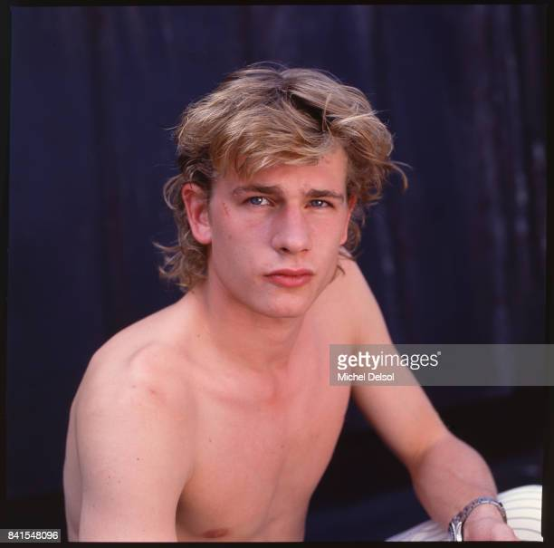 Portrait of French actor Guillaume Depardieu as he poses shirtless to promote the film 'Tous les Matins du Monde' New York New York September 8 1992...