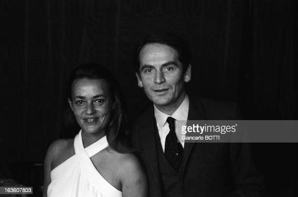 Portrait of French actress Jeanne Moreau and French fashion designer Pierre Cardin in France in September 1965