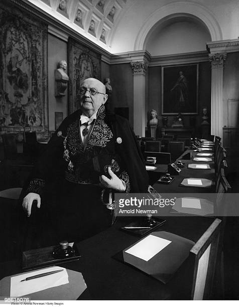 Portrait of French author Georges Duhamel in a meeting room at L'Academie Francaise where he sat in Seat 30 in the academy's formal uniform Paris...