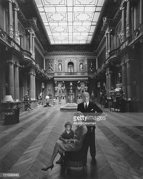 Portrait of French banker Baron Guy de Rothschild as he poses with his wife MarieHelene de Rothschild and their son Edouard France April 22 1961