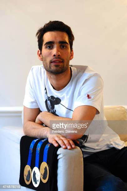 Portrait of French biathlete Martin Fourcade and his three Olympic Medals two gold and a silver from the XXII Winter Olympic Games Sotchi 2014 at on...