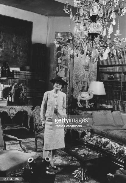 Portrait of French fashion designer Coco Chanel in her home , Paris, France, circa 1950s.