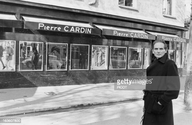Portrait of French fashion designer Pierre Cardin in front of his shop on Faubourg Saint Honore in Paris France on February 23 1976