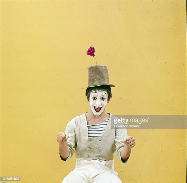 Portrait of French mime Marcel Marceau with an imaginary steering wheel 'in' his hands, New York, New York, 1961. This image was taken from a...