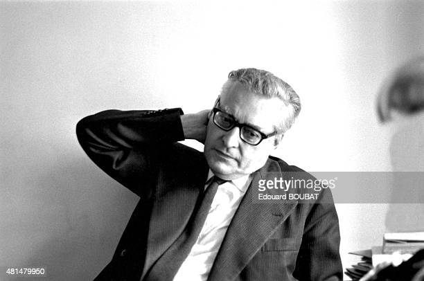 Portrait of French novelist poet and cofounder of Ouvroir de littérature potentielle Raymond Queneau in 1964