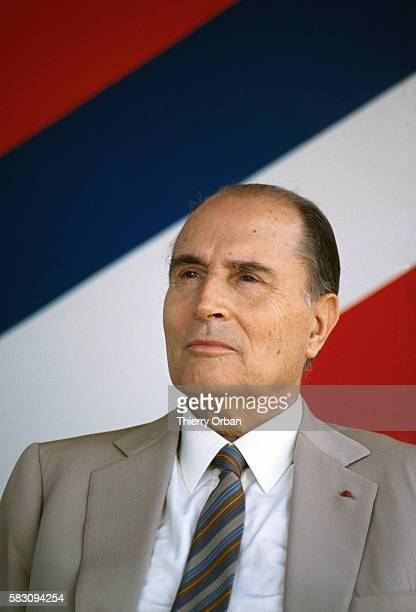 A portrait of French President Francois Mitterrand during his visit to Saint Benoit in Reunion on February 9 1988