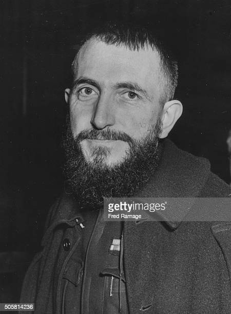 Portrait of French priest and Resistance member Abbe Pierre at Central Hall Westminster London circa 1954