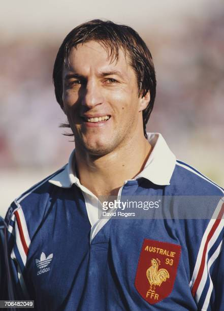 Portrait of French rugby centre Philippe Sella of France wearing the national jersey with the traditional Gallic rooster symbol for the France versus...