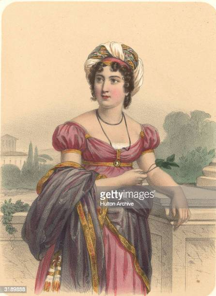 Portrait of French writer Madame de StalHolstein drawn by J Champagne early 1800s
