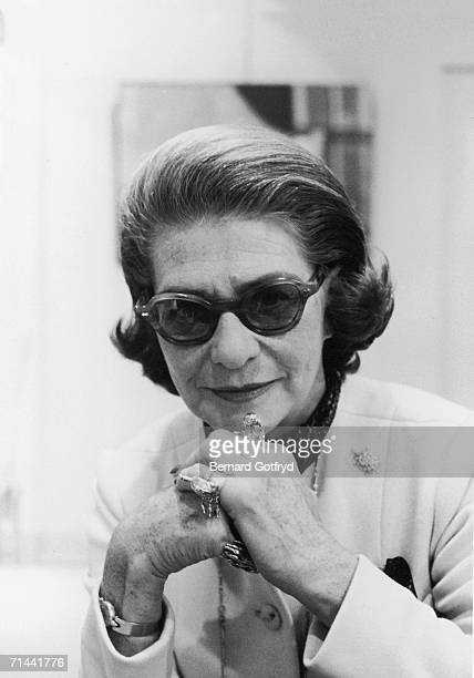 Portrait of Frenchborn American fashion designer Pauline Trigere New York New York 1975 She wears sunglasses and a number of large and complex rings