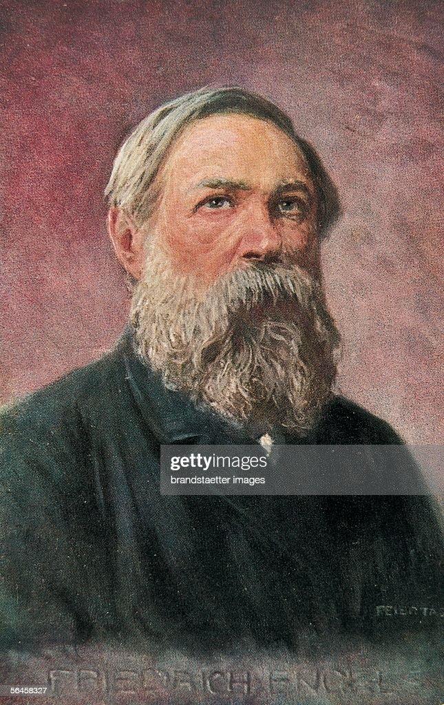 Portrait of Friedrich Engels. Around 1910. Coloured Postcard. (Photo by Imagno/Getty Images) [Portrait Friedrich Engels. Um 1910. Farbpostkarte.]