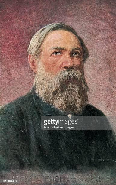 Portrait of Friedrich Engels Around 1910 Coloured Postcard [Portrait Friedrich Engels Um 1910 Farbpostkarte]