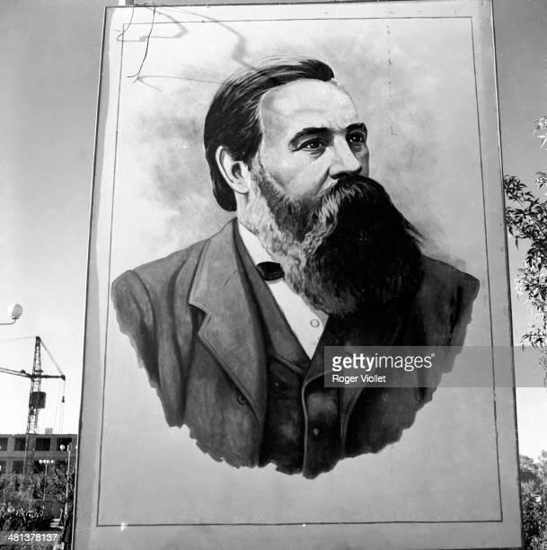 Portrait of Friedrich Engels , German politician. Bukhara , Soviet's Square, August 1964.