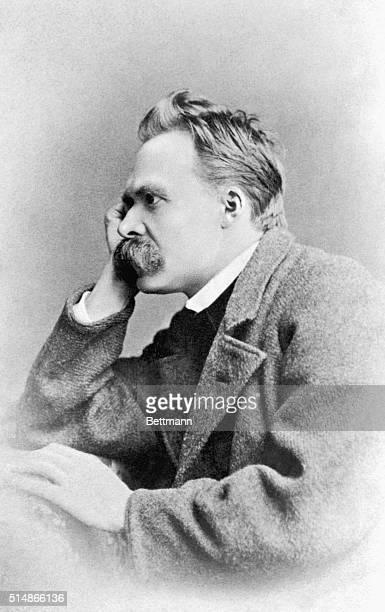 Portrait of Friedrich W. Nietzsche, German philosopher , face resting on hand. Photograph.